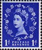 1952 -1954 Wilding Definitives 1d Stamp (1952) blue