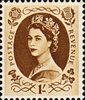 1952 -1954 Wilding Definitives 1s Stamp (1952) bistre