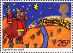 Christmas 1981 25p Stamp (1981) Three Kings approaching Bethlehem