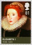 Kings and Queens (Tudors) 81p Stamp (2009) Elizabeth I (1558-1603)