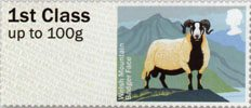 Post & Go - British Farm Animals I - Sheep 1st Stamp (2012) Welsh Mountain Badger Face