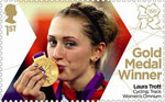 Team GB Gold Medal Winners 1st Stamp (2012) Cycling: Track Women's Omnium - Team GB Gold Medal Winners