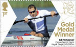 Team GB Gold Medal Winners 1st Stamp (2012) Canoe: Sprint Men's Kayak Single (K1) 200m - Team GB Gold Medal Winners