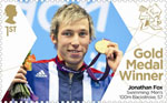 Paralympics Team GB Gold Medal Winners  1st Stamp (2012) Swimming: Men's 100m Backstroke, S7 - Paralympics Team GB Gold Medal Winners