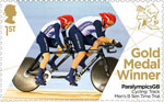 Paralympics Team GB Gold Medal Winners  1st Stamp (2012) Cycling: Track Men's B 1km Time Trial - Paralympics Team GB Gold Medal Winners