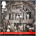 London Underground 2nd Stamp (2013) 1898 - Tunnelling Below London Streets