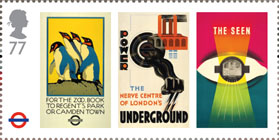 London Underground 77p Stamp (2013) Lomdon Underground Posters - For the Zoo, Power and The seen