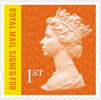 New Definitives 2013 1st Stamp (2013) 1st Signed For Flame with Yellow Flash