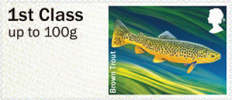 Post & Go: River Life - Freshwater Life 3 1st Stamp (2013) Brown Trout
