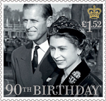 HM The Queen's 90th Birthday £1.52 Stamp (2016) HM The Queen with the Duke of Edinburgh 1957