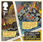 The Great Fire of London 1st Stamp (2016) Sunday, 2nd September 1666 - Fire Breaks Out