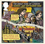 The Great Fire of London 1st Stamp (2016) Sunday, 2nd September 1666 - The Fire Spreads Repidly