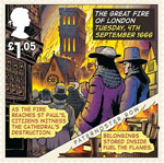 The Great Fire of London �1.05 Stamp (2016) Tuesday, 4th September 1666, St Pauls destruction