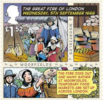 The Great Fire of London �1.52 Stamp (2016) Wednesday, 5th September 1666, The fire dies out