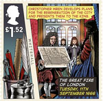 The Great Fire of London �1.52 Stamp (2016) Tuesday, 11th September 1666, Christopher Wren plans presented