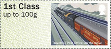 Post & Go : Royal Mail Heritage : Mail by Rail 1st Stamp (2017) Travelling Post Office: On The Move