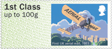 Post & Go : Royal Mail Heritage : Mail by Air 1st Stamp (2017) First UK aerial mail, 1911