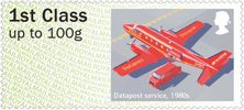 Post & Go : Royal Mail Heritage : Mail by Air  Stamp (2017) Datapost services, 1980s