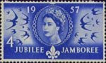 World Scout Jubilee Jamboree 4d Stamp (1957) 'Scouts coming to Britain'