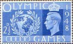 Olympic Games 2.5d Stamp (1948) Globe and Laurel Wreath