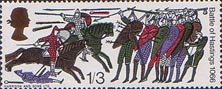900th Anniversary of Battle of Hastings 1s3d Stamp (1966) Norman Horsemen attacking Harold's Troops