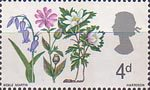 British Flora 4d Stamp (1967) Bluebell, Red Campion and Wood Anemone
