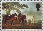 British Painters 9d Stamp (1967) 'Mares and Foals in a Landscape' (George Stubbs)