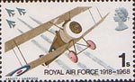 British Anniversaries 1s Stamp (1968) Sopwith Camel and English Electric Lightning Fighters