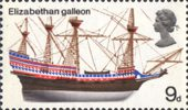 British Ships 9d Stamp (1969) Elizabethan Galleon