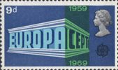 Notable Anniversaries 9d Stamp (1969) Europa and C.E.P.T. Emblems