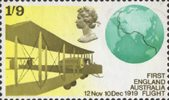 Notable Anniversaries 1s9d Stamp (1969) Vickers FB-27 Vimy Aircraft and Globe showing Flight