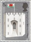 Investure of H.R.H. The Prince of Wales 5d Stamp (1969) Queen Eleanor's Gate, Caernarvon Castle