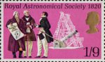 General Anniversaries 1s9d Stamp (1970) Sir William Herschel, Francis Baily, Sir John Herschel and Telescope