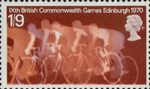 Ninth British Commonwealth Games, Edinburgh 1s9d Stamp (1970) Cyclists