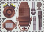BBC & Broadcasting History 3p Stamp (1972) Microphones