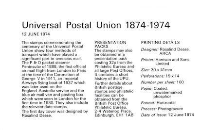 Centenary of Universal Postal Union (1974)