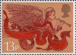 Christmas 13p Stamp (1975) Angel with Trumpet