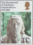 The Bicentennial of American Independence 1776-1976 11p Stamp (1976) Benjamin Franklin (bust by Jean-Jaques Caffieri)