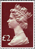 High Value Definitive £2 Stamp (1977) Head, Purple Brown - tint, pale green