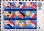 Direct Elections to European Assembly 9p Stamp (1979) Placing flags of member nations into ballot boxes