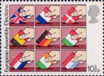 First Direct Elections to European Assembly 10.5p Stamp (1979) Placing flags of member nations into ballot boxes