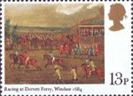 Horseracing 13p Stamp (1979) 'Racing at Dorsett Ferry, Windsor, 1684' (Francis Barlow)