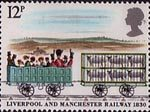 Liverpool and Manchester Railway 1830 12p Stamp (1980) Third Class Carriage and Sheep truck crossing Chat Moss