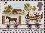 Liverpool and Manchester Railway 1830 12p Stamp (1980) Horsebox and Carriage Truck near Bridgewater Canal