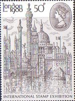 'London 1980' International Stamp Exhibition 50p Stamp (1980) Montage of London Buildings