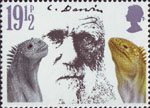 Death Centenary of Charles Darwin 19.5p Stamp (1982) Darwin and Marine Iguanas