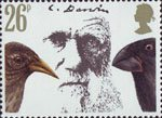 Charles Darwin 26p Stamp (1982) Darwin, Cactus Ground Finch and Large Ground Finch