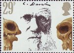 Death Centenary of Charles Darwin 29p Stamp (1982) Darwin and Prehistoric Skulls