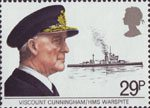 Maritime Hertiage 29p Stamp (1982) Viscount Cunningham and HMS Warspite
