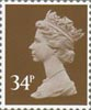 Definitive 34p Stamp (1984) Ochre Brown